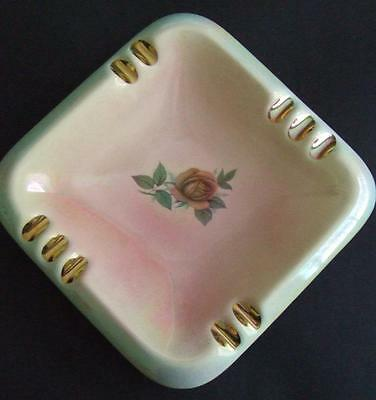 MCP Mingay Australian Pottery Large Lustre Ashtray with Central Red Rose Pattern