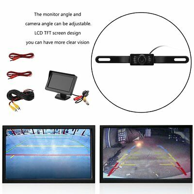 "4.3"" TFT LCD Monitor +Car Backup Reverse Camera Rear View System Night Vision BB"