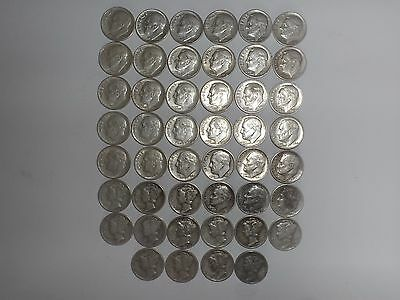 lot of 46 Roosevelt and Mercury Silver Dimes