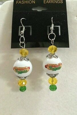 Nathan's Hot Dogs Earrings Glass Beaded Fast Food Advertising
