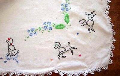Beautiful Vintage Hand Embroidered Table Cloth Poodles