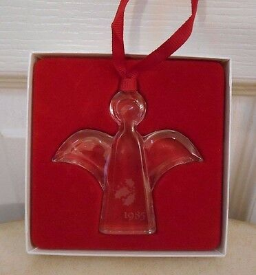 Orrefors 1985 Crystal Glass CHRISTMAS ANGEL Ornament with Original Box