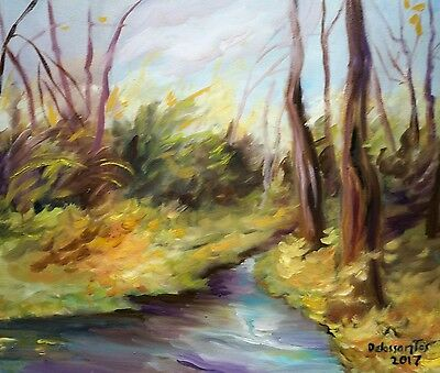 WINDY AFTERNOON  OIL ON CANVAS 16 X20  inches, original painting  AWESOME !