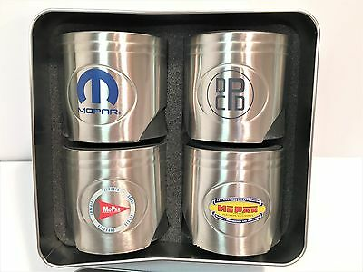 Set Of 4 Mopar 75th Anniversary Can Holders / Insulators In Tin Case w/Lid