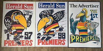 1997, 1998 & 2017 Adelaide Crows AFL AFLW Premiers Posters Original WEG KNIGHT