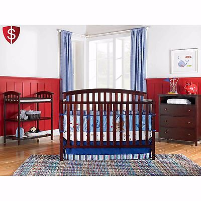 4 in 1 Baby Toddler Convertible Bed Nursery Fixed-Side Crib Graco Cherry