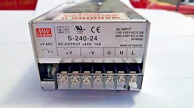Mean Well S-240-24 Power Supply, Input: 100-120/200-240VAC, Output: 24VDC 10A