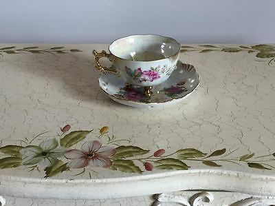 Antique Floral Japanese Tea Cup and Saucer