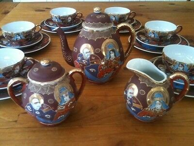 c.LATE 1940s VINTAGE JAPANESE IMARI HAND PAINTED GILT MORIAGE 21 PIECE TEA SET