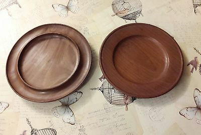 shallow wooden bowl, & a  wooden plate