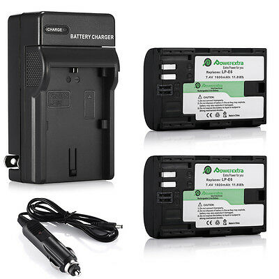 2 LP-E6 Li-ion Battery and Charger For Canon EOS 6D 60D 7D 70D 5D Mark II III