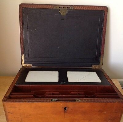 Antique Victorian Large Leather Top/Brass Handle Desk Box/Writing Slope-