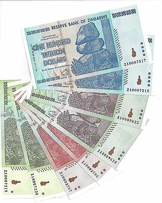 2X100 50 20 and 10 TRILLION ZIMBABWE ZA DOLLAR  Replacement MONEY CURRENCY.UNC,