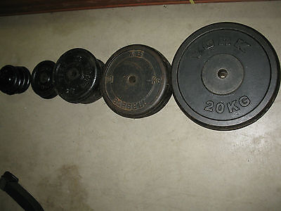 161 kg of Exercise Fitness Metal Gym Weight Plates York, YB & Elite Brands