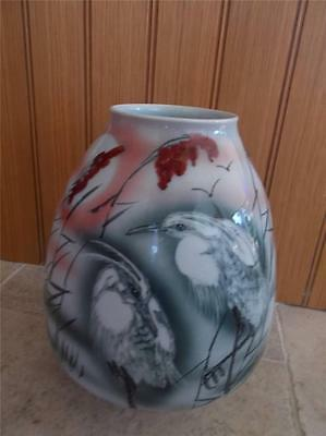 Huge Vtg SIGNED Handthrown HandPainted Chinese Pottery Vase Pr Wading Birds 13""