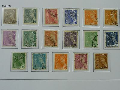 FRANCE 1938 - 42 Mercury issues set of 17 vf used SG 618a - 629a