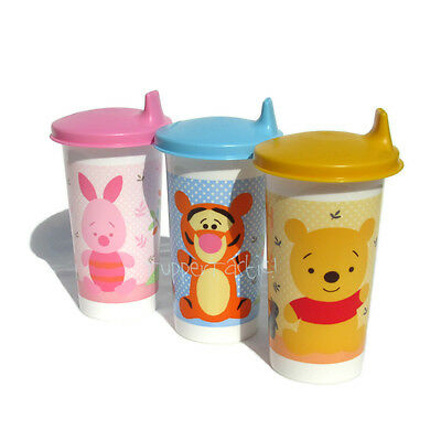Tupperware 1 x Large Bell Tumbler Winnie The Pooh, Piglet OR Tigger Sippy Seal