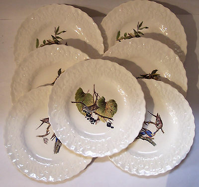 "7 Alfred Meakin audubon bird large dinner plates 11"" dinnerware china nice"