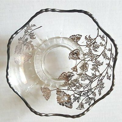 VINTAGE Glass Bowl with SILVER OVERLAY