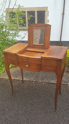 Stunning Rare Antique Victorian Cherry Wood Vanity/Dressing Table Folding Mirror