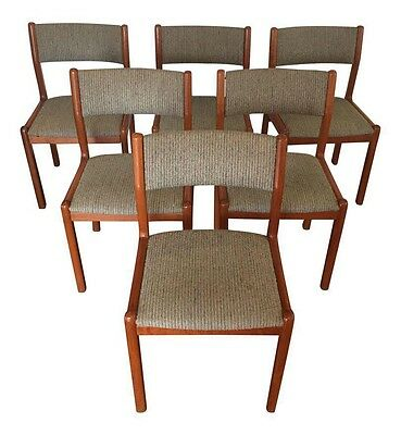 Set of 6 mid century Danish modern Skovby Teak Dining Chairs