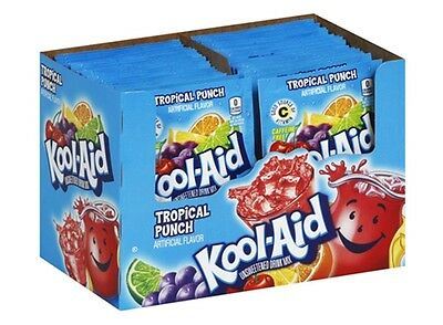 100 TROPICAL PUNCH +1 MYSTERY FLAVOR Kool Aid Drink Mix Vitamin C popsicle fun