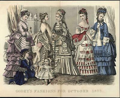 Intricate Lacework Beautiful Dresses 1873 antique hand color fashion print