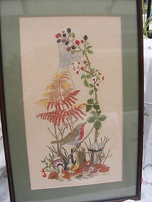 "Large 23"" x 15""  vintage embroidered picture,""Robin & berries"""