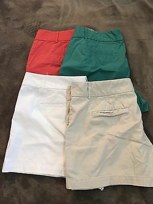 Preowned Ann Taylor Loft Chino Shorts, Lot 4 Pairs Red Green Khaki White Sz 12