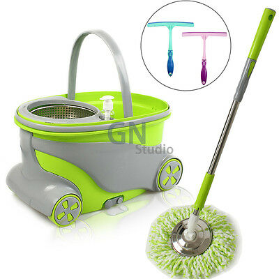 360° Magic Spinning Mop Floor Bucket Set 2 Microfiber Spin Mop Cleaning Head