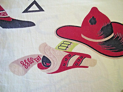Vintage 1950's western cowboy rodeo Hopalong cotton fabric huge curtain panel!