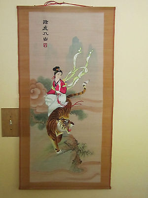 OLD Japanese Silk Scroll Geisha embroidery Painting with tiger  BEAUTIFUL signed