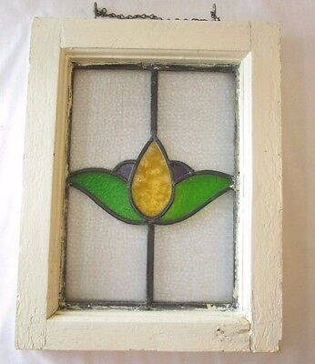 "Antique Stained Glass Window Pane 14"" x 18"""