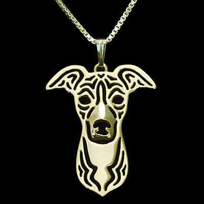 Italian Greyhound or Whippet Pendant Necklace Gold ANIMAL RESCUE DONATION