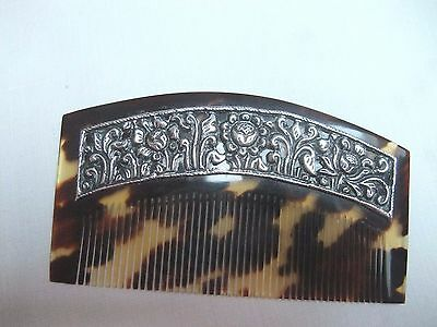 Vintage Faux Tortoiseshell Comb With Silver Mount