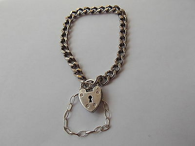 Vintage 925 Sterling Silver Curb Bracelet with a Lock and Safety Chain