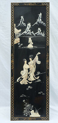 Vintage Japanese Shibayama Lacquer Panel, Mother of Pearl