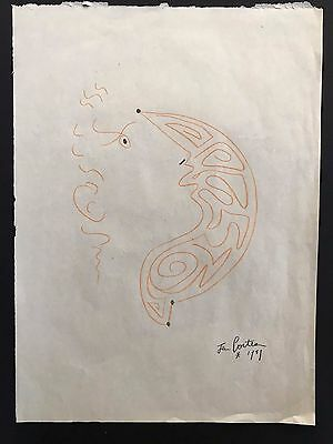 JEAN COCTEAU - DRAWING ON ORIGINAL PAPER OF THE '50s - Orphée