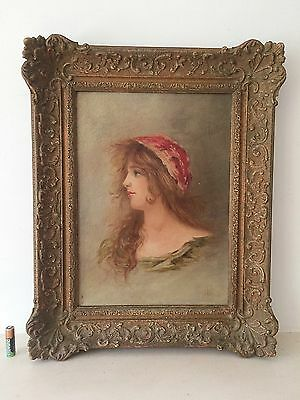 Antique Oil Painting Young Gypsy Woman Wood & Gilt Gesso Frame
