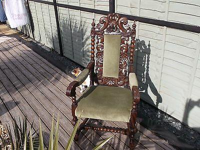 Large Victorian Throne Gothic Chair Hallway - Carver - As Featured In Poldark