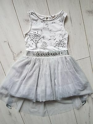 Silver TULLE  woodland Girl Bridesmaid Party Occasion Dress 4-5 NEXT