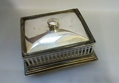 Antique silver plate and glass butter dish Victorian/Edwardian