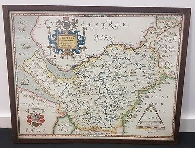 Framed Map of County Cheshire Dated 1577