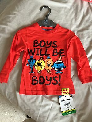 Mr Men Boys Will Be Boys Long Sleeved T Shirt 12-18 Months. Up To 86 cm