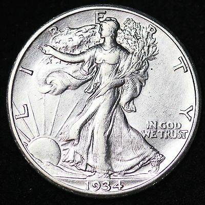 1934-S Walking Liberty Half Dollar CHOICE AU+/UNC FREE SHIPPING E321 GHT