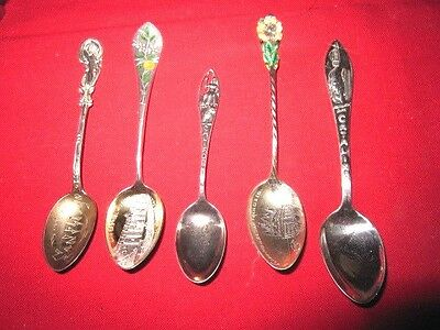 Five Sterling Silver Souvenir Spoons California Spoons