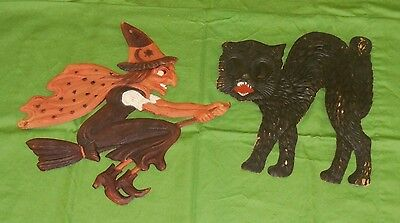 vintage Germany Halloween WITCH ON BROOMSTICK stars on cape & CAT DECORATION LOT