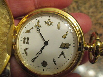 Freemason Master Free Mason Pocket Watch Gold Tone Square&Compasses New