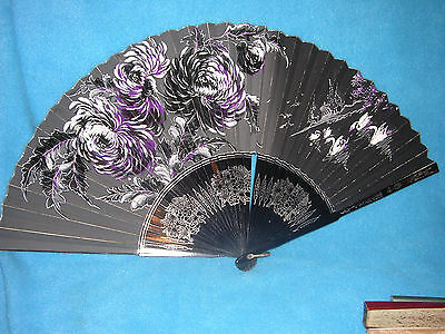 Chinese Japanese Vintage Handheld Folding Fan, Black & Silver Swans & Flowers