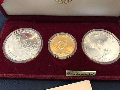1984 US Olympics Commemorative UNC Silver & Gold 3-Coin Set uncirculated 1/2oz